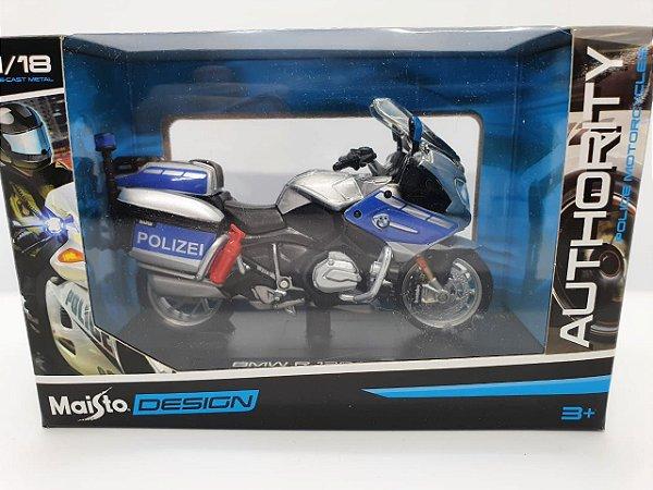 Miniatura BMW R 1200 RT - Versão Policia Alemã - 1/18 - Maisto Authority Police Motorcycles