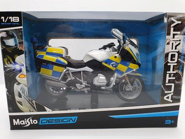 Miniatura BMW R 1200 RT - Versão Policia Britânica - 1/18 - Maisto Authority Police Motorcycles