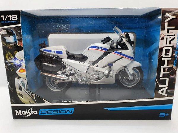 Miniatura Yamaha FJR1300A - Versão Policia Francesa - 1/18 - Maisto Authority Police Motorcycles