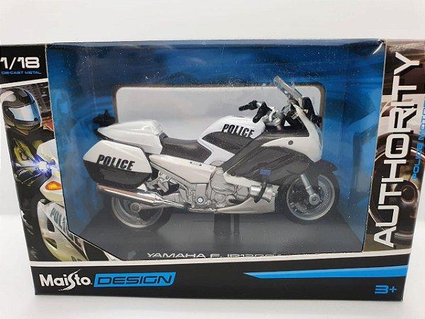 Miniatura Yamaha FJR1300A - Versão Policia Americana- 1/18 - Maisto Authority Police Motorcycles