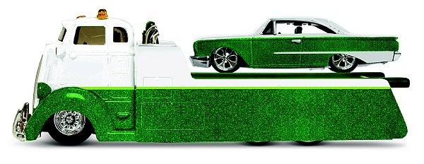 Caminhão 1/64- COE FLATBAD + 1960 FORD STARLINER - DESIGN ELITE TRANSPORT