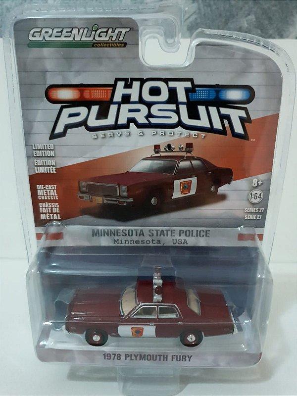 Miniatura Policia Minnesota - Plymouth Fury 1978 - Hot Pursuit - Escala 1/64