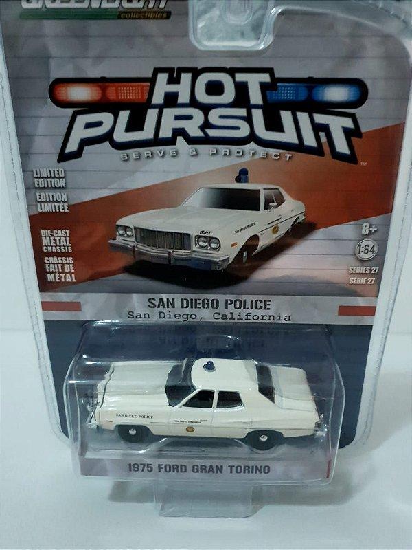 Miniatura Policia San Diego - Ford Gran Torino 1975 - Hot Pursuit - Escala 1/64