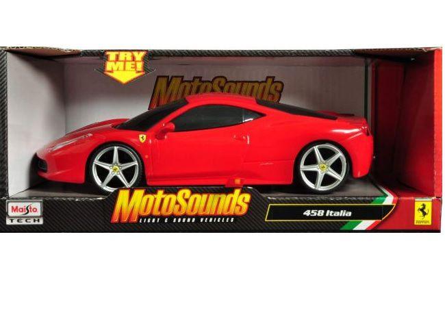 Miniatura Ferrari 458 Italia 1/24 - Maisto Motosounds - Com Luz e Som