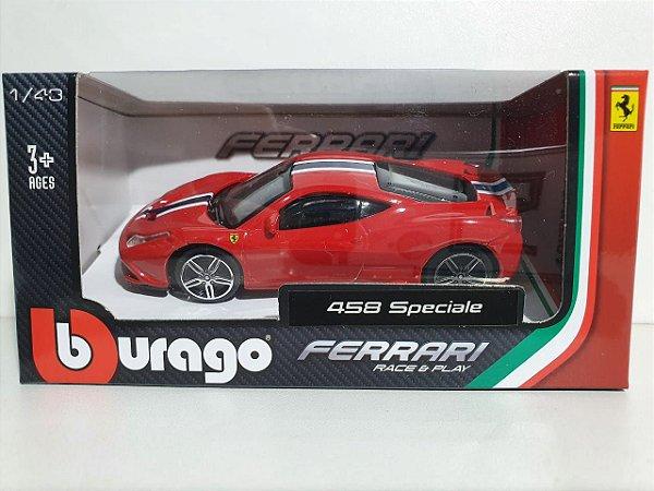 Miniatura Ferrari 458 Speciale - Escala 1/43 10cm - Burago