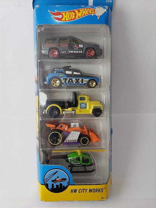 Pack com 5 Miniaturas Hot Wheels - HW City Works
