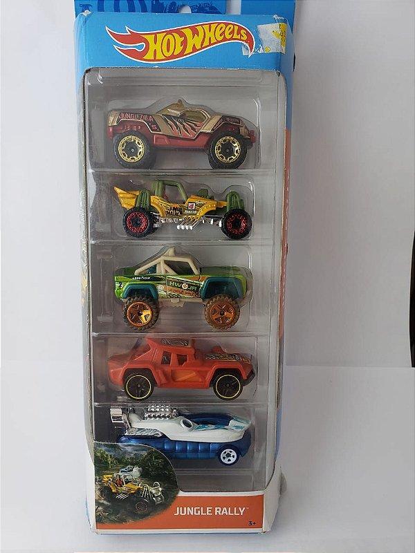 Pack com 5 Miniaturas Hot Wheels - Jungle Rally
