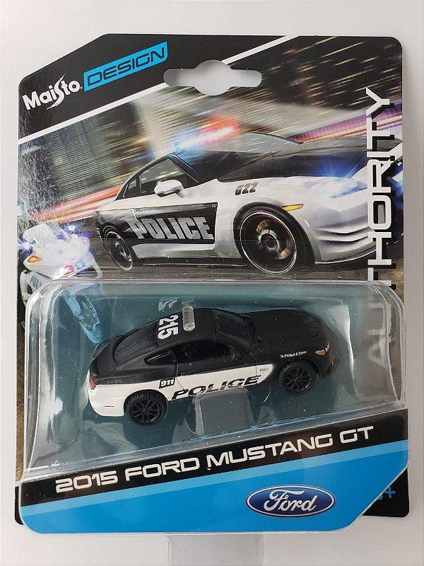 Miniatura Maisto Design - Ford Mustang GT 2015 Policia - Escala 1/64 Aprox 8cm