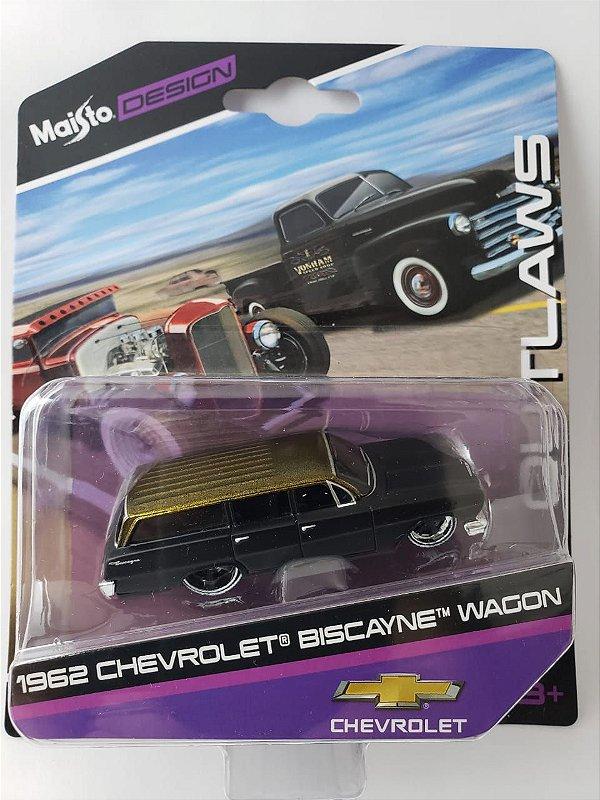 Miniatura Maisto Design - Chevrolet Biscayne Wagon 1962 - Escala 1/64 Aprox 8cm