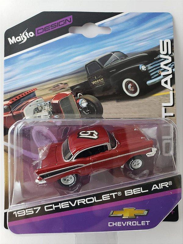 Miniatura Maisto Design - Chevrolet Bel Air 1957 - Escala 1/64 Aprox 8cm