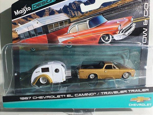 Miniatura Chevy El Camino C/ Trailer Escala 1/64 Maisto Design Tow&Go