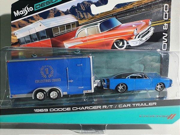 Miniatura Dodge Charger RT 1969 C/ Trailer Escala 1/64 Maisto Design Tow&Go