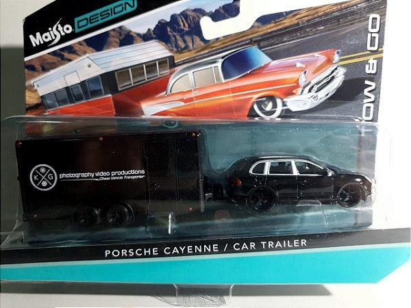 Miniatura Porsche Cayenne C/ Trailer Escala 1/64 Maisto Design Tow&Go