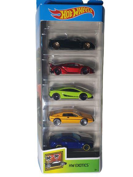 Pack com 5 Miniaturas Hot Wheels - HW Exotics