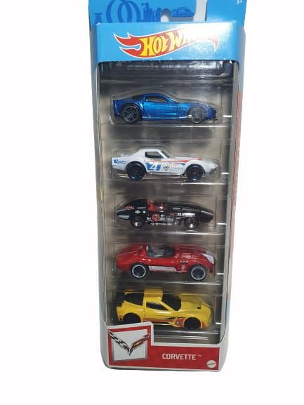 Pack com 5 Miniaturas Hot Wheels - Corvette