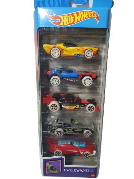 Pack com 5 Miniaturas Hot Wheels - HW Glow Wheels
