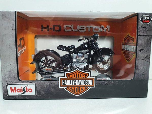 Miniatura Moto Harley Davidson 1948 FL Panhead - Escala 1/18 - Maisto