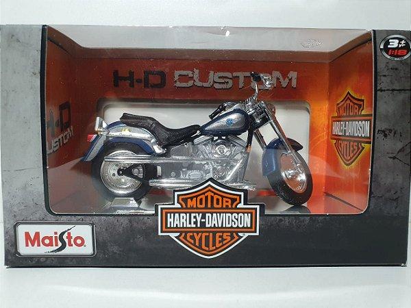 Miniatura Moto Harley Davidson 1998 FLSTF Fat Boy - Escala 1/18 - Maisto