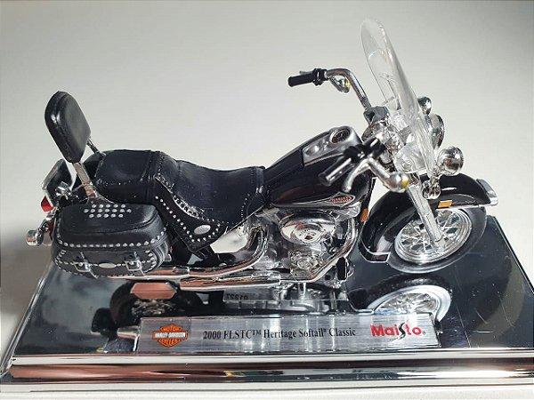 Miniatura Moto Harley Davidson FLSTC Heritage Softail Classic - Escala 1/18