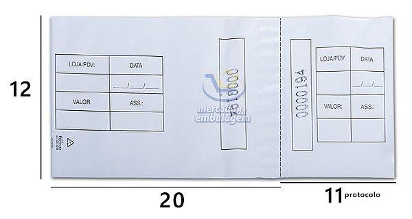 Envelope Protocolado Sangria 12 X 20 cm 11 cm de protocolo