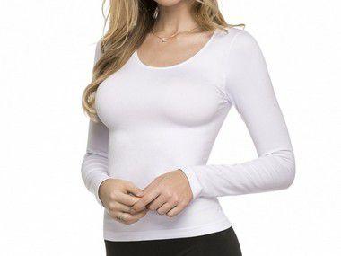 Blusa Manga Longa Sem Costura Branca