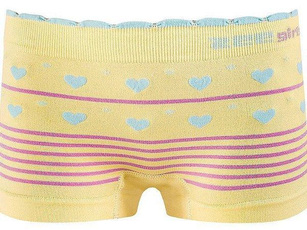 Calcinha Boxer Infantil Love Sem Costura Amarela