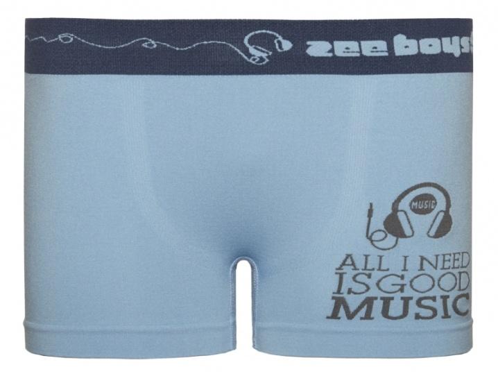 Cueca Boxer Infantil Music Sem Costura Azul Claro