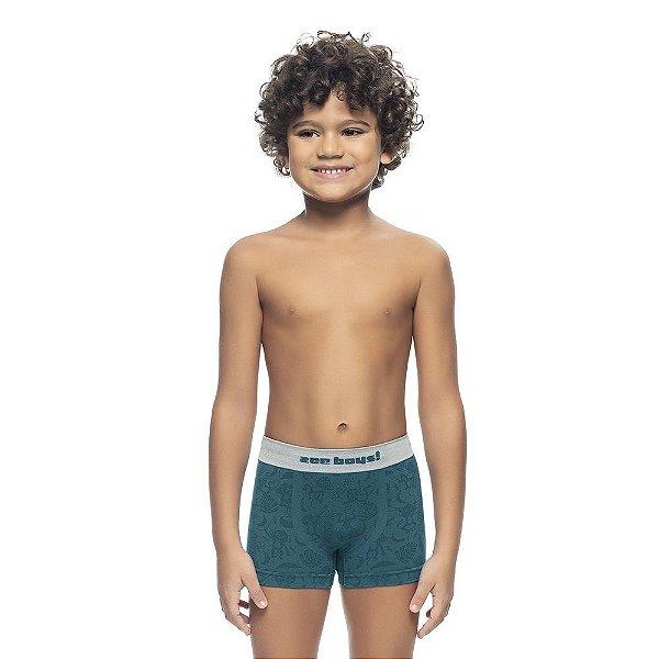 Cueca Boxer Infantil Jacquard Sem Costura Petroleo