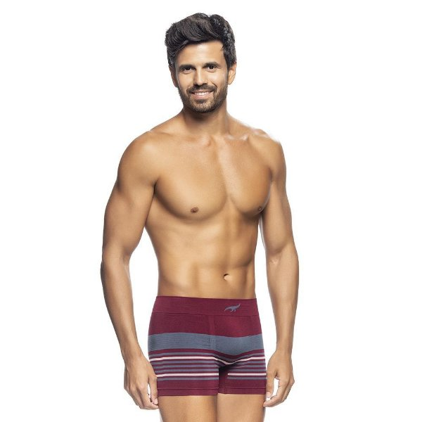 Cueca Boxer Listrada Sem Costura Bordô