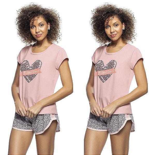 Kit 2 Pijamas Blusa e Short Pink Animal Print