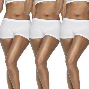 Kit 3 Calcinhas Boxer Sem Costura Branca