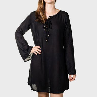Vestido Reto com Ilhós Lady's Secret Preto