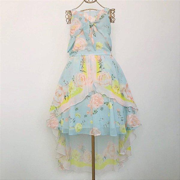 Vestido Alongado Crepe Estampa Floral