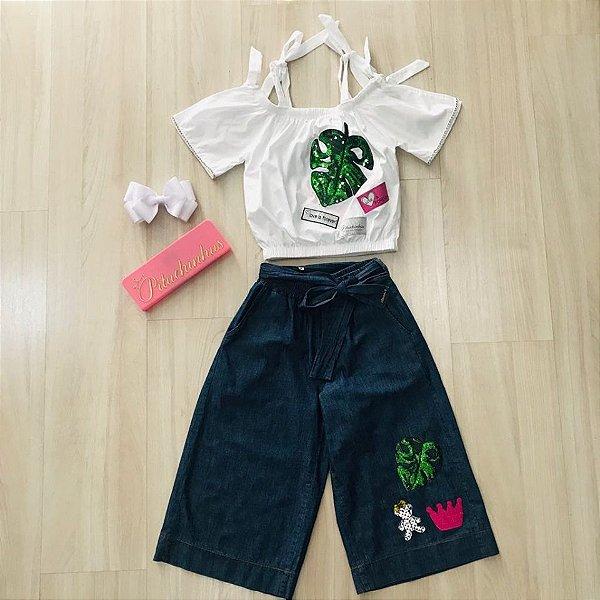 Conjunto Blusa Ciganinha Patch Folha Verde / Pantacourt Jeans