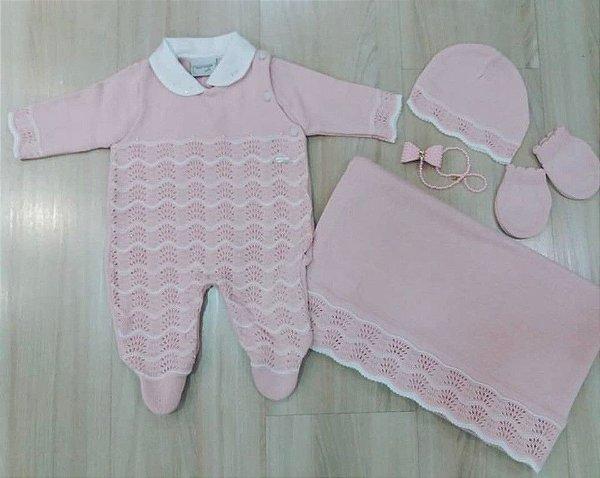 kit Maternidade (Macacão c/gola e Aplicação de Pérolas + Manta tricô +Touca e Luvas)