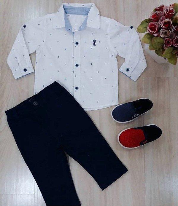 Cj Camisa ML Branca com Ancoras e Calça Sarja Marinho