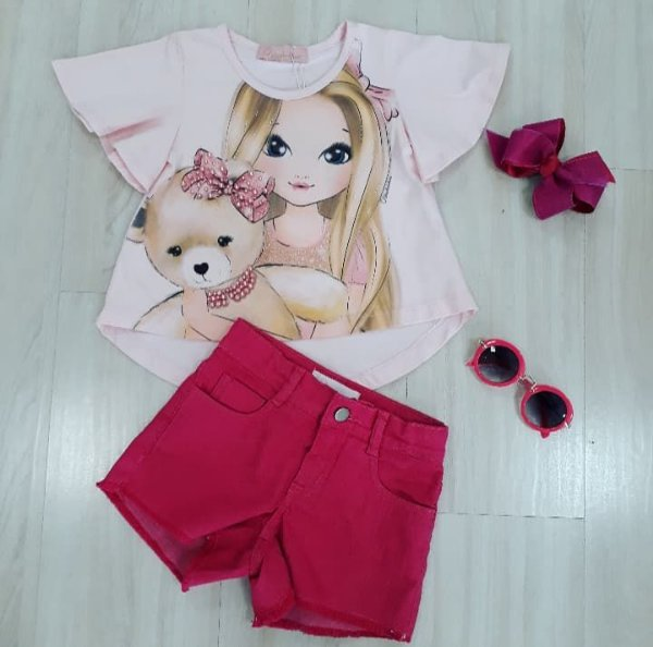 Conjunto Blusa MC Cropped Cotton Boneca e urso / Shorts Sarja Pink