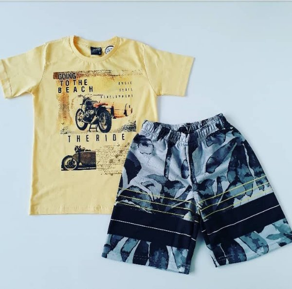 Conjunto Camiseta Mc Amarela The Ride / Bermuda Moletom Estampada