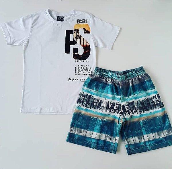 Conjunto Camiseta MC PS/ Bermuda Moletom Estampada