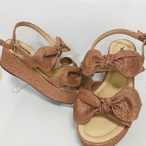 Sandalia Plataforma Laços Gliter Ouro Rosado