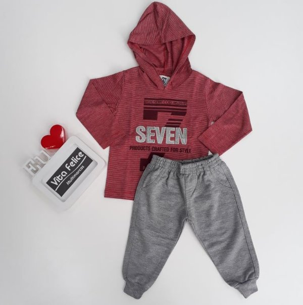 Conjunto Camiseta ML Capuz Seven/ Calça Moletom