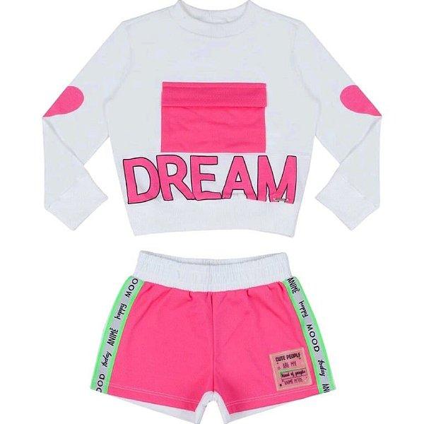Conjunto Blusa ML Dream / Shorts Rosa Neon
