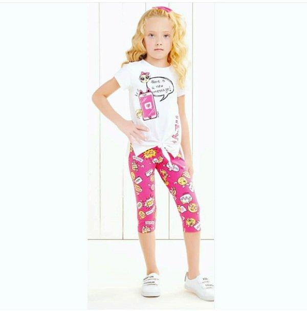 Conjunto Blusa mc Hey com legging Pink Estampada