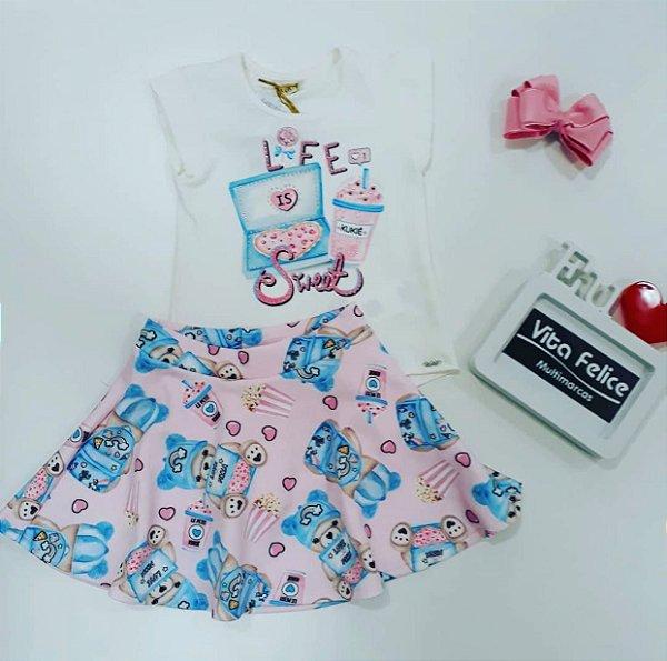 Conjunto Blusa MC Life Sweet/ Saia com shorts embaixo