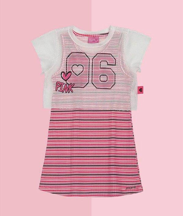 Vestido Mc Sobreposição Tela - 06 Pink