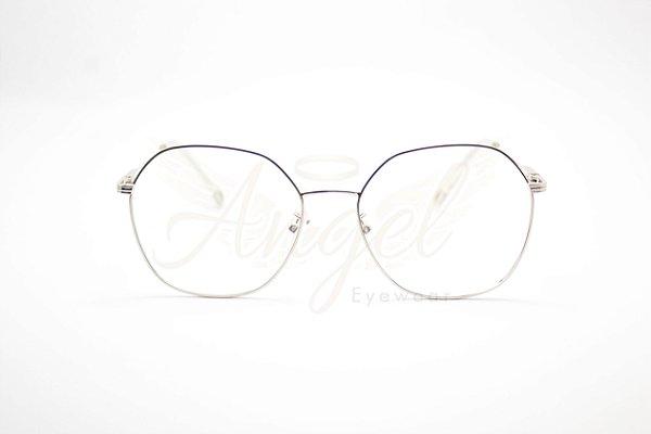Armação De óculos De Grau Redonda Prata ótica Online Angel