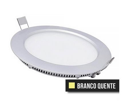 Painel Downlight Led Slim 9W Branco Quente (Redondo)