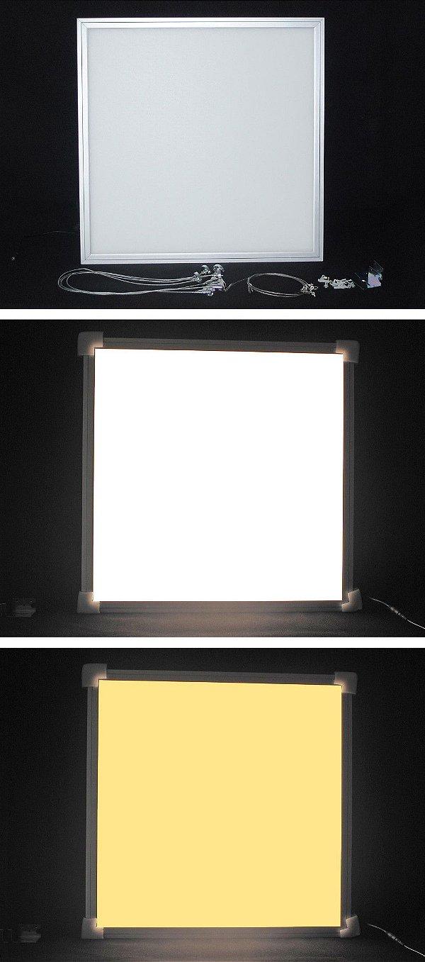 Painel Quadrado Led de Embutir 18W Muda 3 Cores de Luz Branco Frio, Morno e Quente