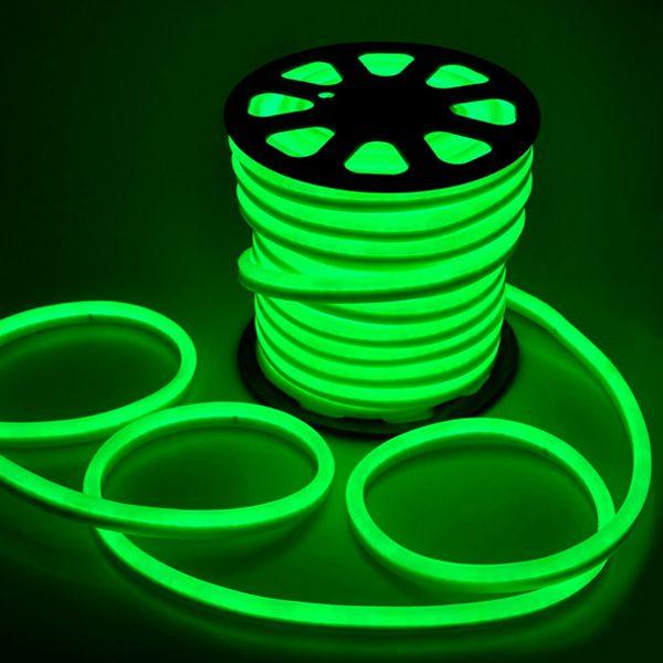 Mangueira Chata de LED Neon- 100 Metros Rolo-  Verde