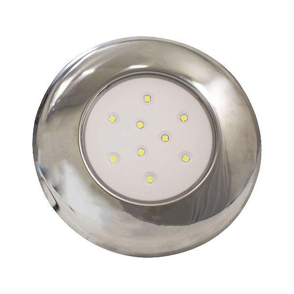 Luminária Para Piscina 9W -  Branco Frio - 125MM - Cromado